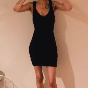 Black Fur Body Con Dress